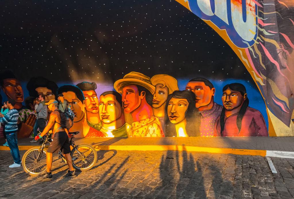 Underpass covered in murals - Peru