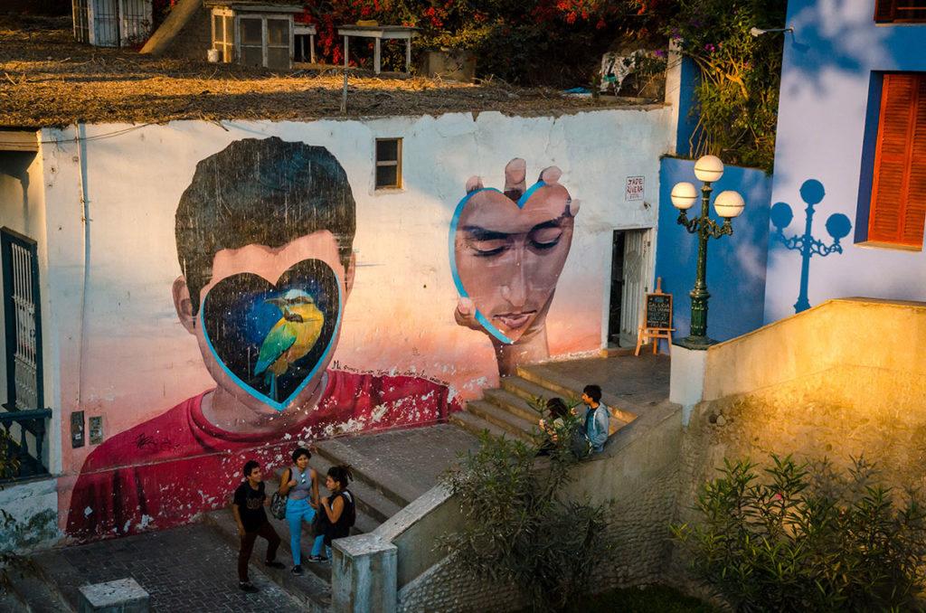 Mural on a building in Barranco - Peru