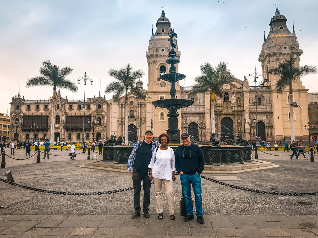Group picture in front of the Cathedral of Lima - Peru