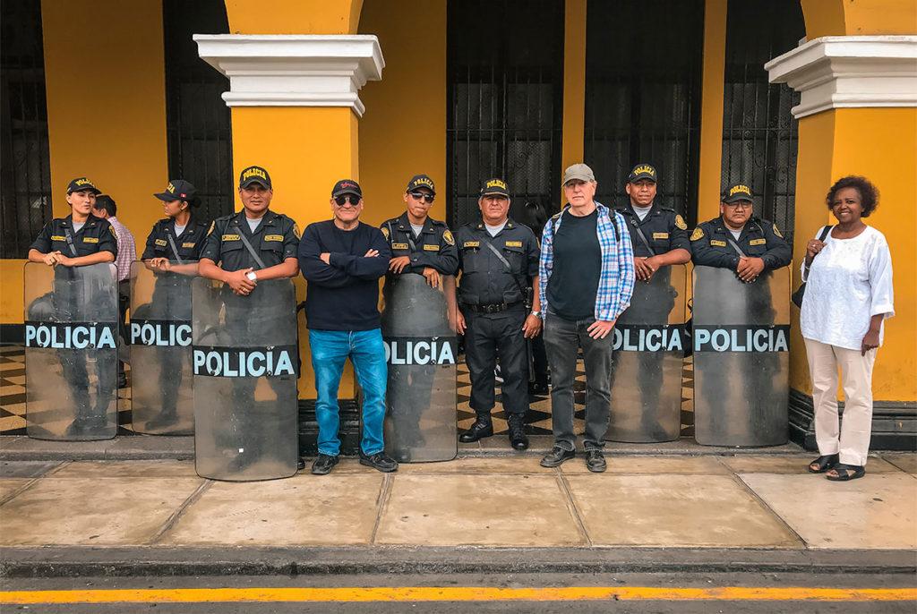 Ed and Khadija with Lima Police - Peru