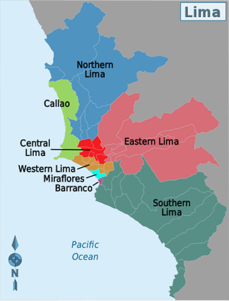 Map showing Lima's districts - Peru