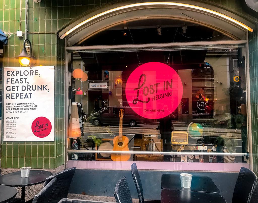 Lost in Helsinki Bar and Restaurant window - Helsinki