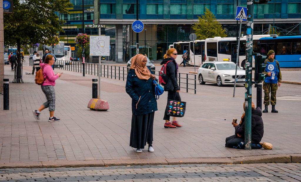 Pedestrian woman in Hijab - Helsinki