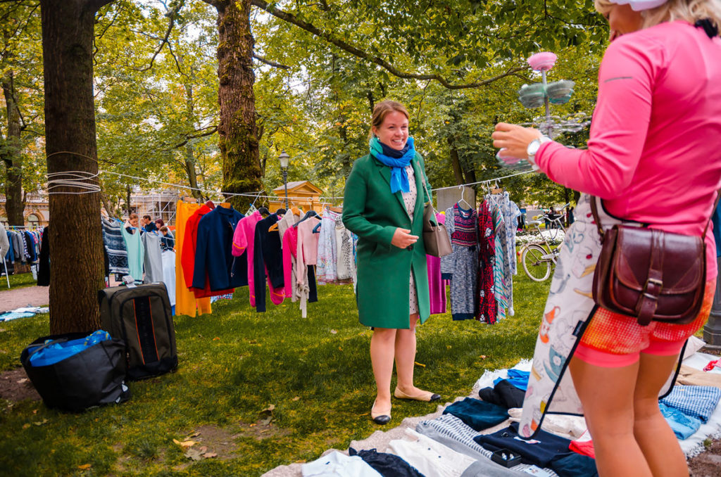 Smiling woman at the Flea Market- Helsinki
