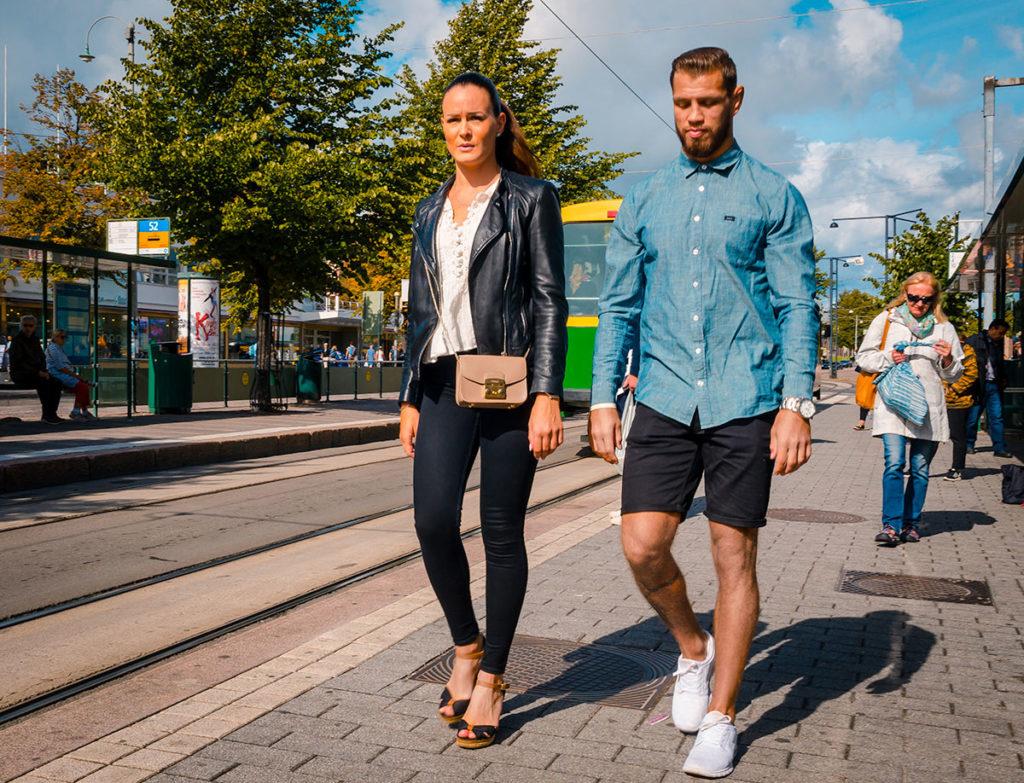 Young fashionable couple walking - Helsinki