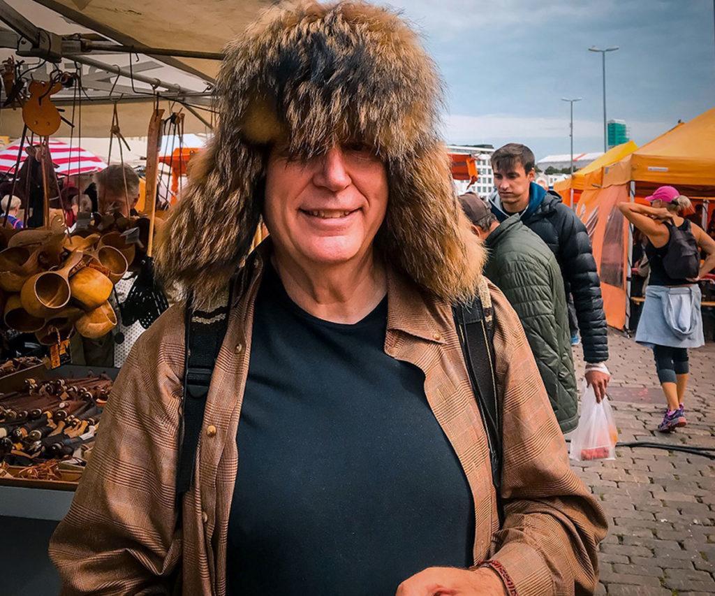 Ed wearing brown felt hat - Kauppatori Market Square
