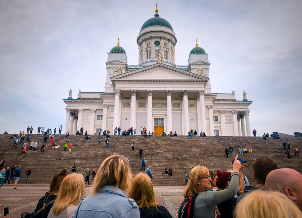 Crowd in front of the Helsinki Cathedral - Helsinki