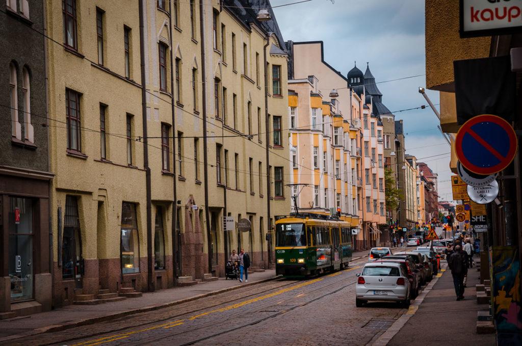 Tram passing through Boulevardi Street - Helsinki