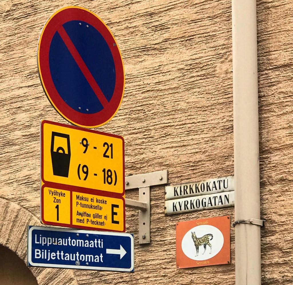 Street sign in Finnish and Swedish language - Helsinki