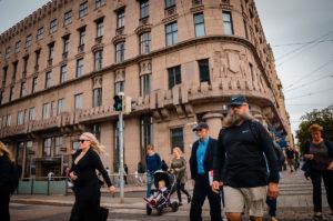 Pedestrians crossing the street - Helsinki
