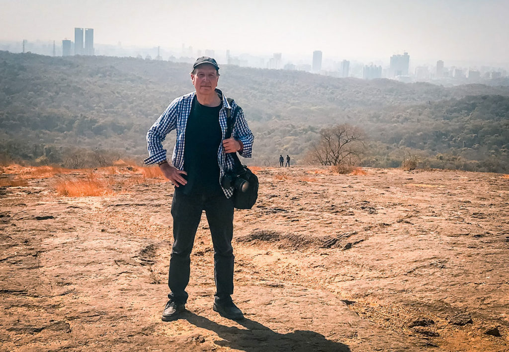 Ed with view of the skyline in the background - Mumbai
