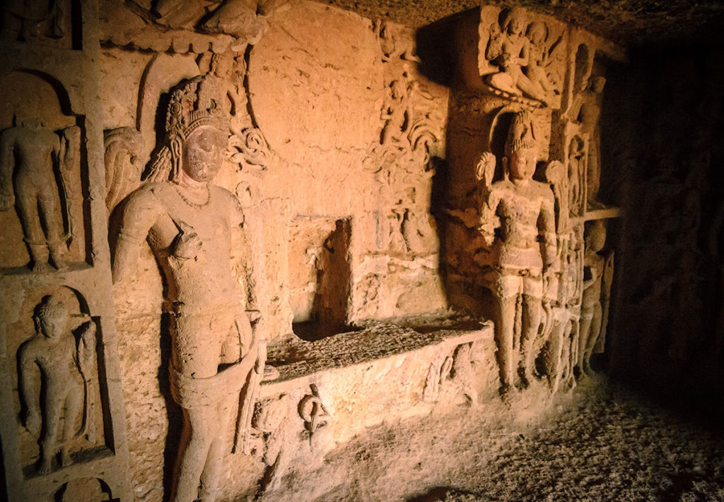 Wall sculptures in Cave 90 - Kanheri Caves