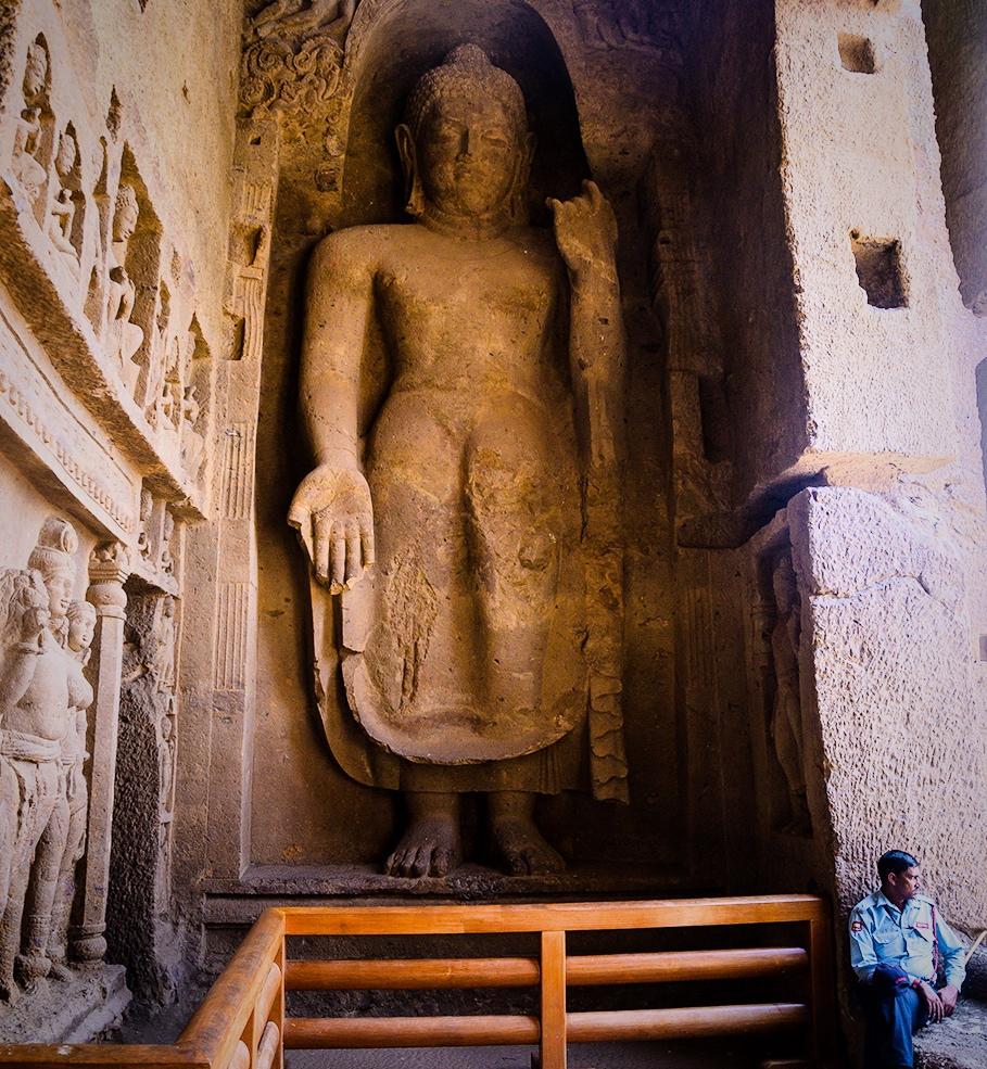 Tall Buddha sculpture - Kanheri Cave