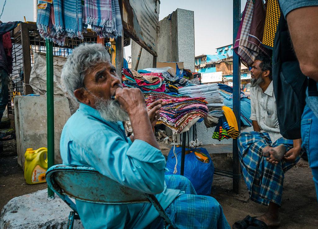 Street vendors selling cloths - Dharavi