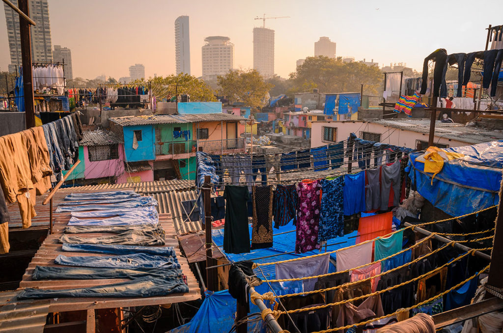 Clothes being dried in the rooftop - Mumbai