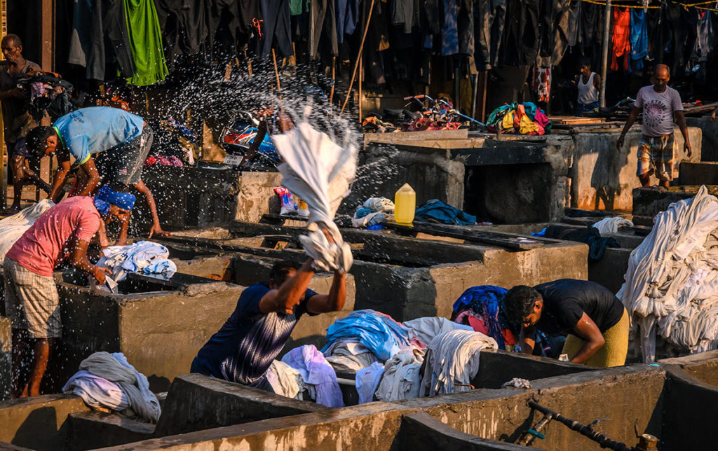 People doing laundry at the Dhobi Ghat - Mumbai