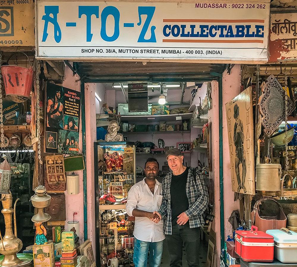 Ed with curios shop owner - Mumbai