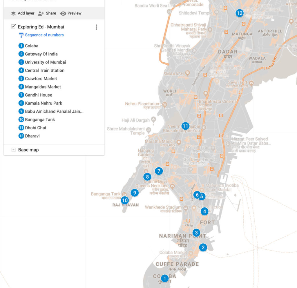 Map showing the places in Mumbai that Ed has visited - Mumbai