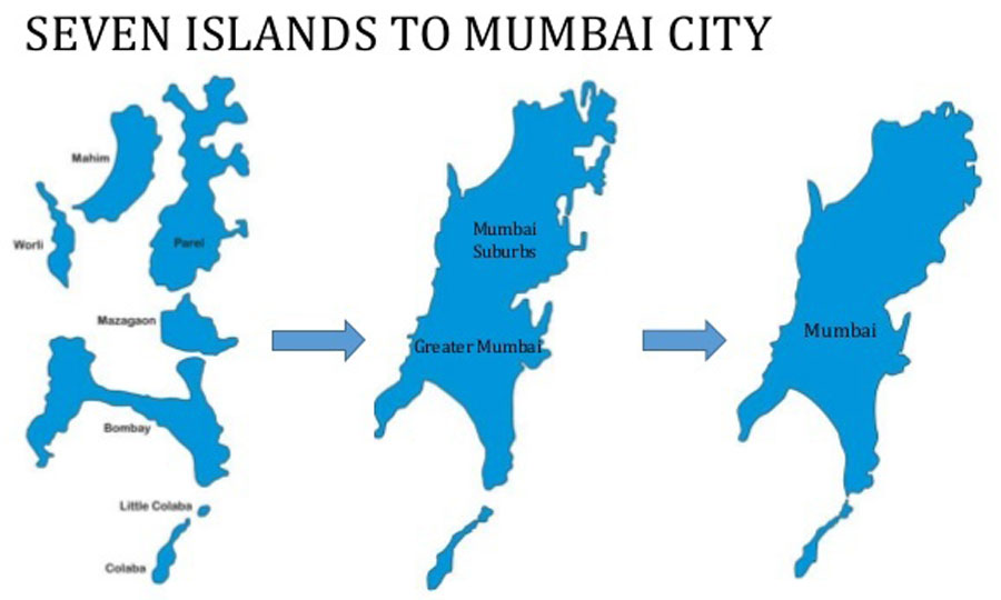 Illustration showing the seven islands of Mumbai - Mumbai