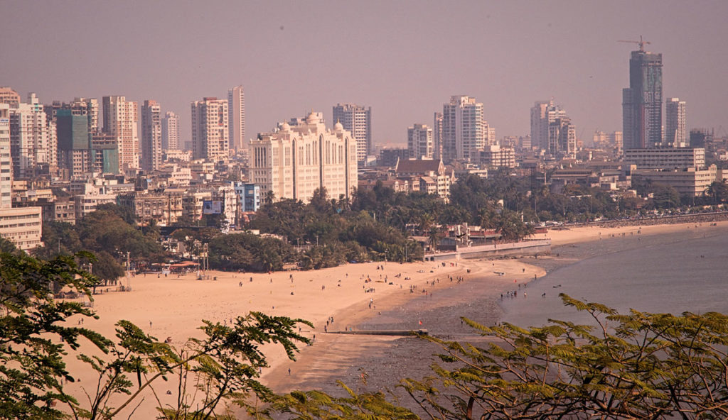 Wide shot view of the city of Mumbai - India