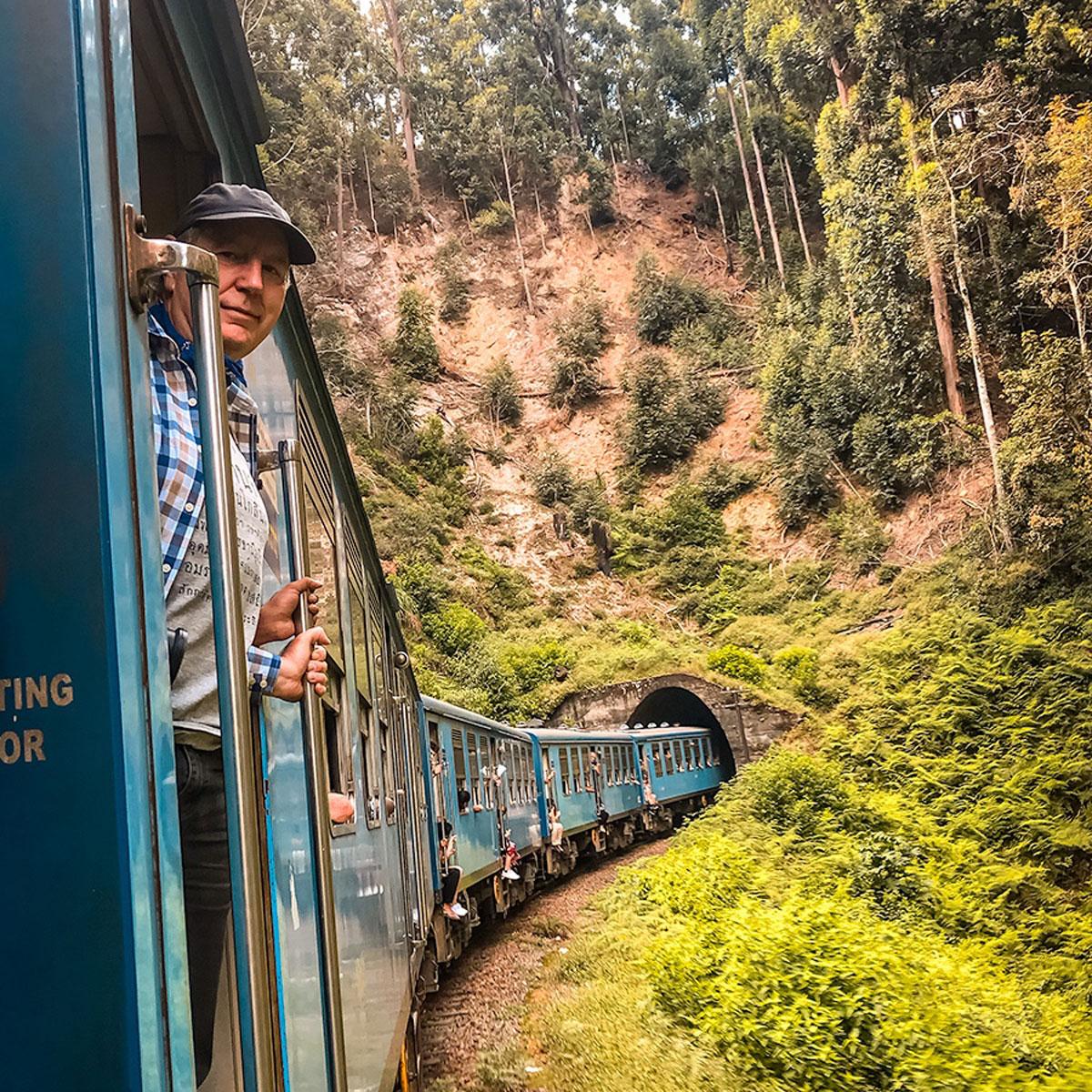 Ed on a train entering a tunnel - Sri Lanka