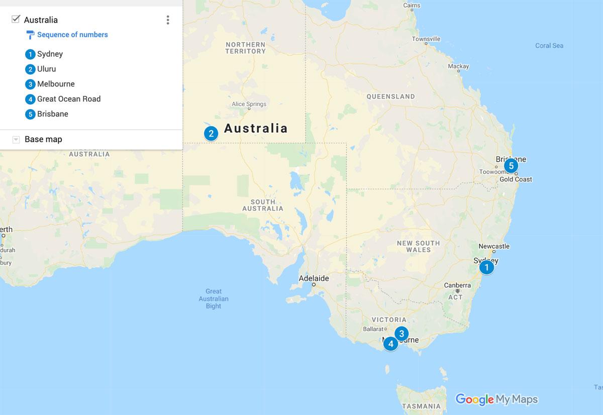 Australia Map Main Travel Destinations