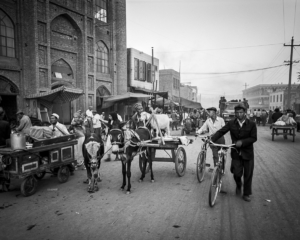Busy street in Kashgar, China