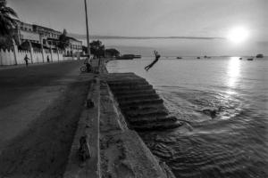 Young men diving on a Zanzibar bay