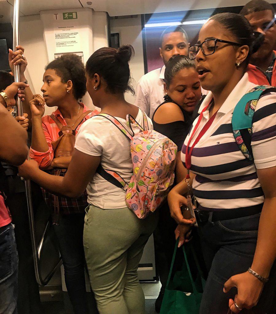 People Entering Santo Domingo Metro
