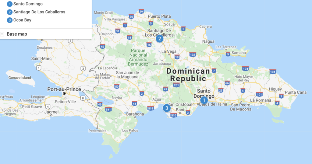 Dominican Republic Destinations Map