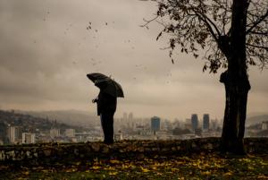 Sarajevo - Man with Umbrella