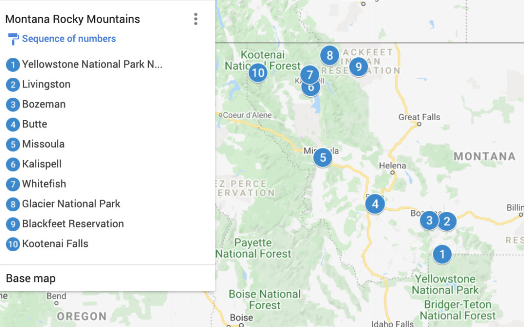 Montana Rocky Mountains Map