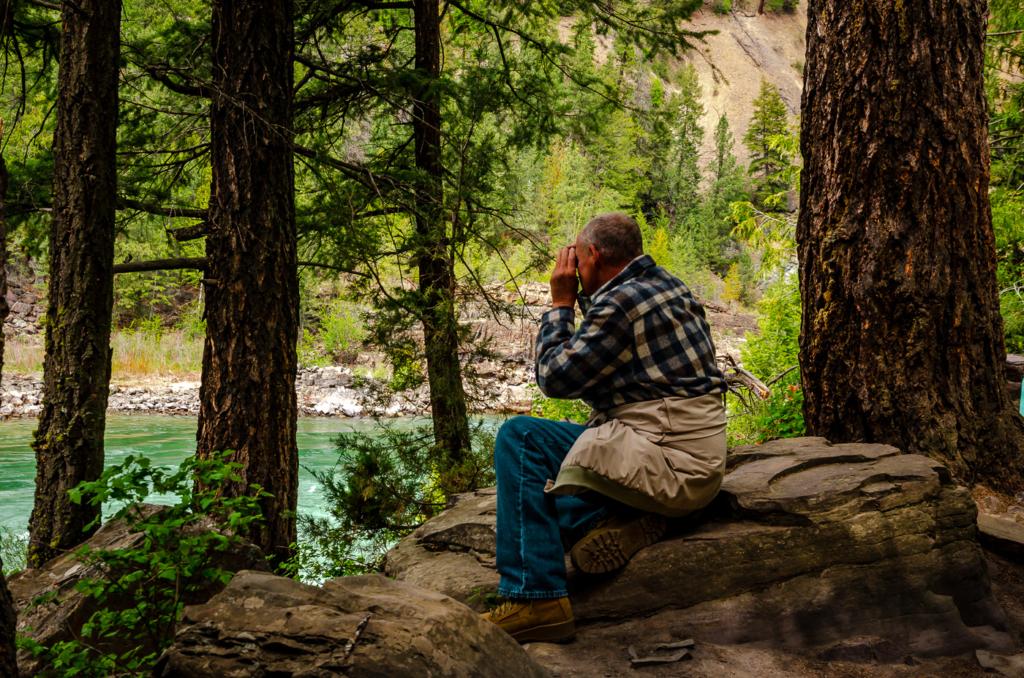 Man with Binoculars - Kootenai Falls MT